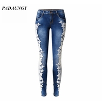 PADAUNGY Lace Jeggings Embrodiery High Waist Jeans Plus Size Pencil Trousers Pantalon Jean Femme Skinny Jegging Slim Pantalons