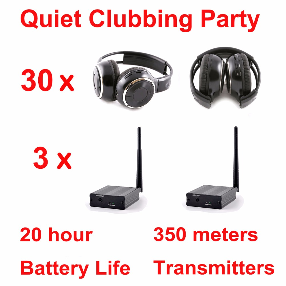 Silent Disco complete system black folding wireless headphones – Quiet Clubbing Party Bundle (30 Headphones + 3 Transmitters)