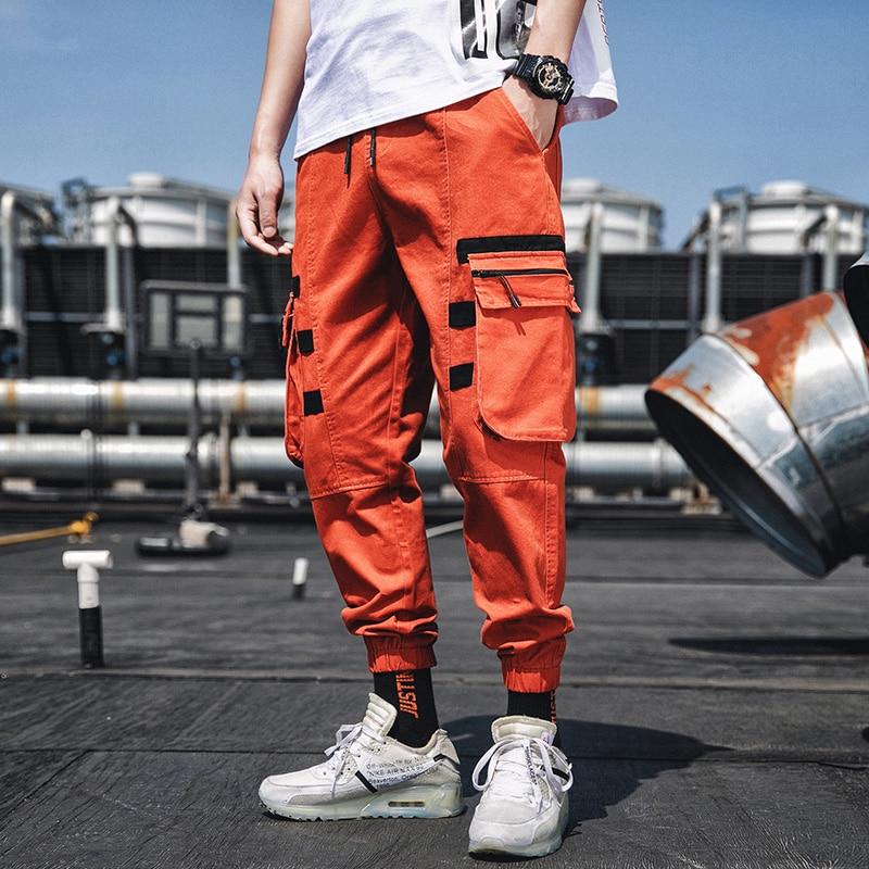 4XL Plus Size Orange Cargo Pants Men Zipper Pockets Japanese Streetwear Cargo Pants For Men Summer Harem Sports Pants Causal