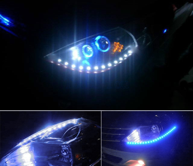 1 par bil-styling bil auto dekorativ flexibel LED-remsa 12V 30 cm - Bilbelysning - Foto 2