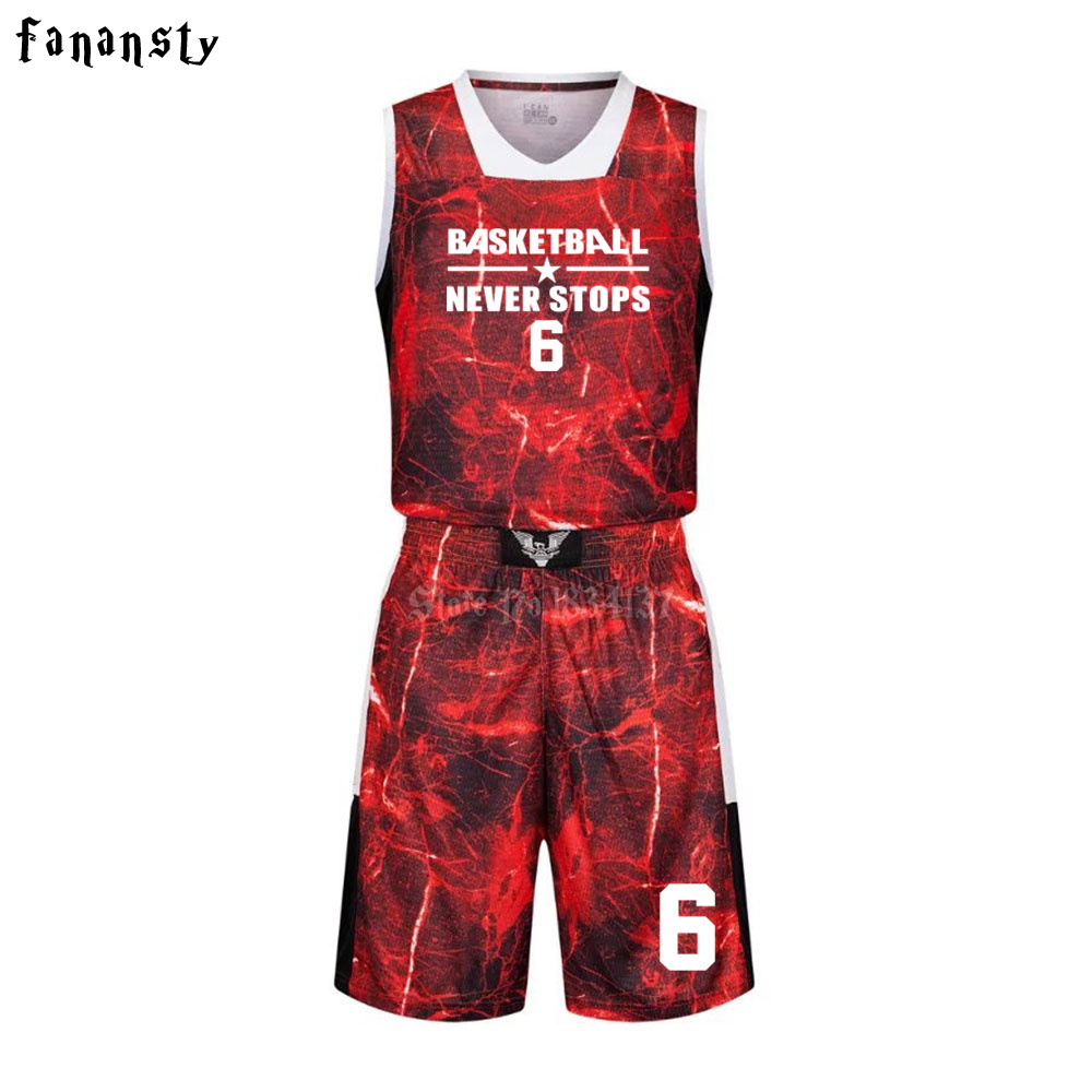 High quality basketball jerseys Boys breathable custom basketball uniforms cheap college basketball suits DIY set 2017 new