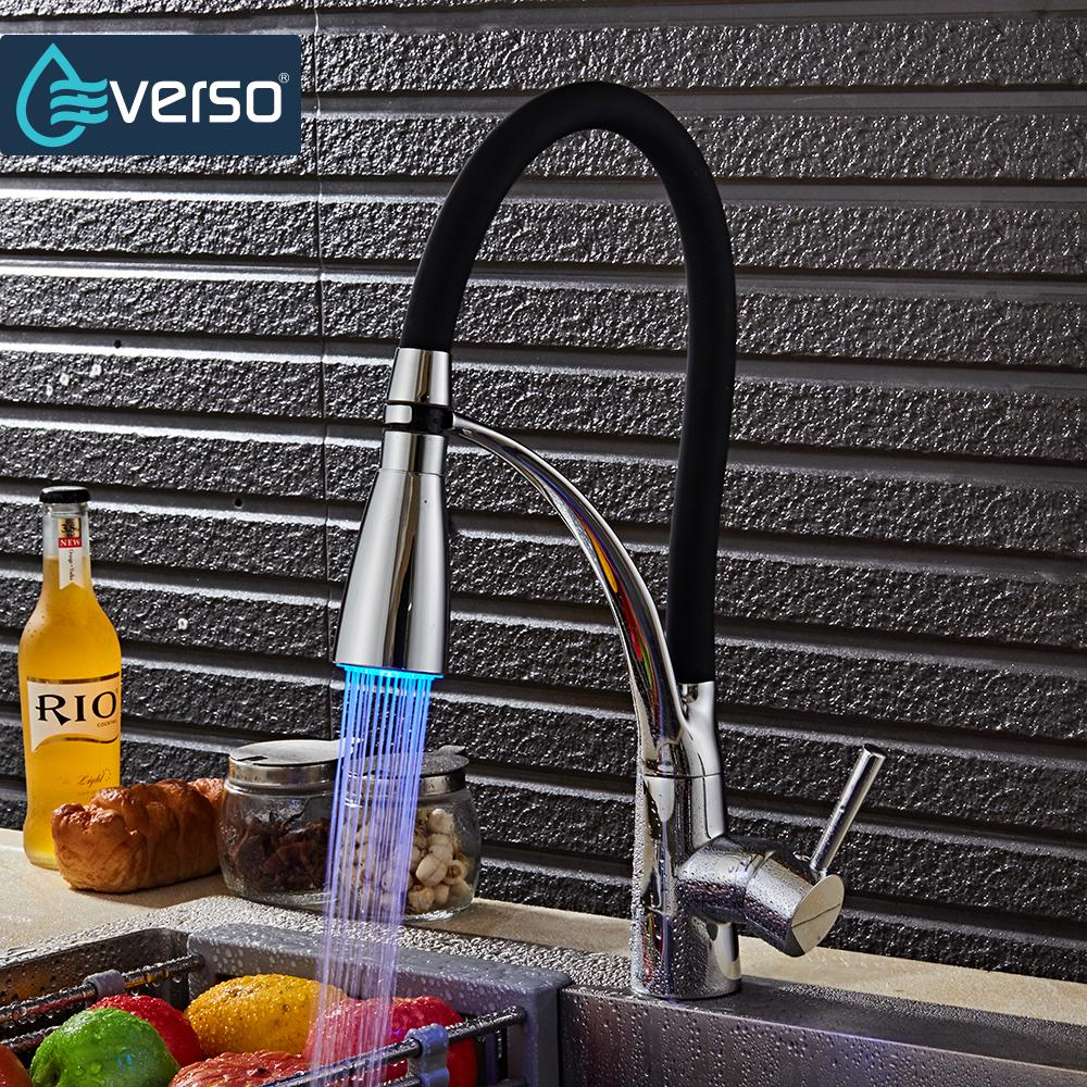 EVERSO Kitchen Tap LED kitchen Faucet with Filtered Water Black Kitchen Faucet Pull Out Hot Cold Water Mixer Tap newly arrived pull out kitchen faucet gold sink mixer tap 360 degree rotation torneira cozinha mixer taps kitchen tap