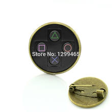 Men and women hipster accessories badge video game controller pins retro ethnic style game controller brooches C 1113(China)