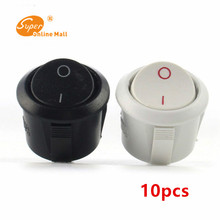 10pcs White Black high quality round button switch ship feet two tranches Button Switch Push Switche