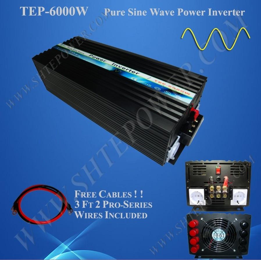 Free shipping pure sine wave power inverter 6000w DC 12v to AC 100v/110v/120v