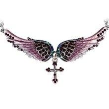 Angel Wing Cross Necklace Women Biker Jewelry Gifts Crystal