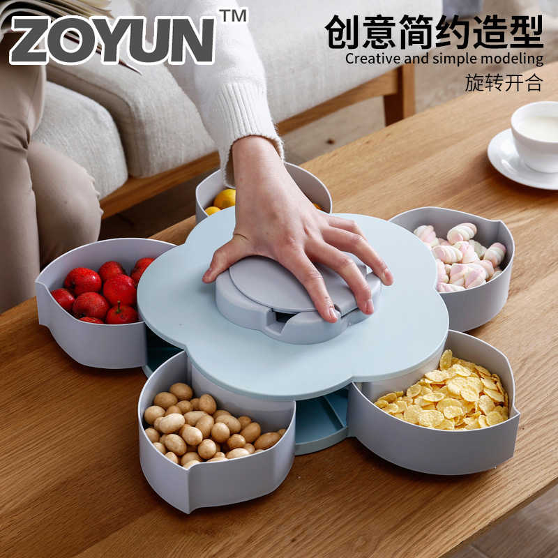 Creative Petal Rotating Fruit Container Food Melon Seeds Snacks Nut Candy Storage Boxes Plastic Fruit Plate Kitchen Organizer