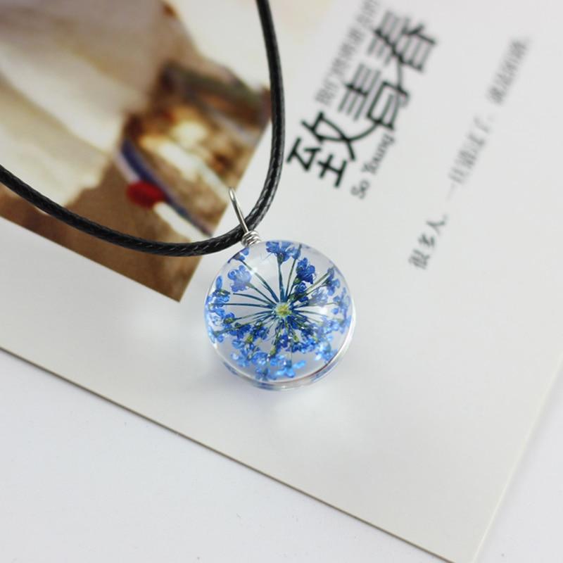 a6fbeebe9bec Moda claro redondo declaración Collar de plata de vidrio real flores secas  diente de león simple collares hechos a mano para las mujeres joyería -  Blog ...