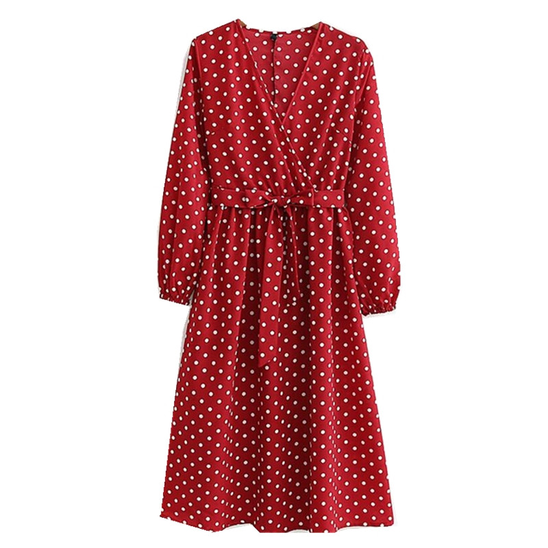 2019 French Cross V Neck Polka Dot Print Dress Red Retro Woman Bow Tide Sashes Long Sleeve Mid-calf Slim Fit Spring Dresses Easy To Lubricate Women's Clothing