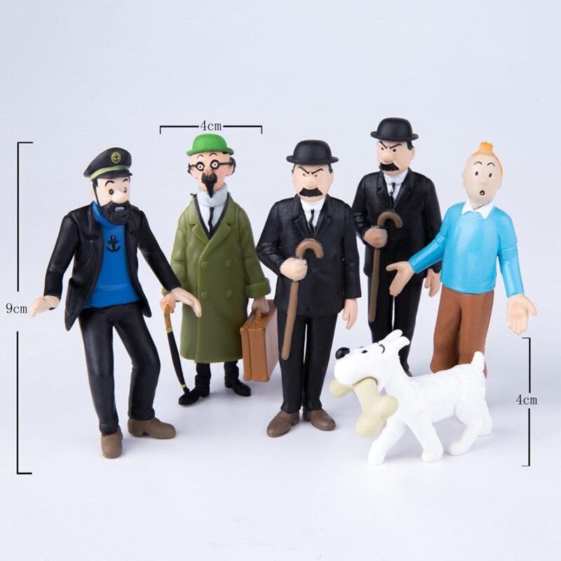 5 комплектов = 30 шт./лот в Приключения из Tintins секрет Единорог Тинтин ПВХ фигурку Коллекционная детская игрушки 6 шт./компл.