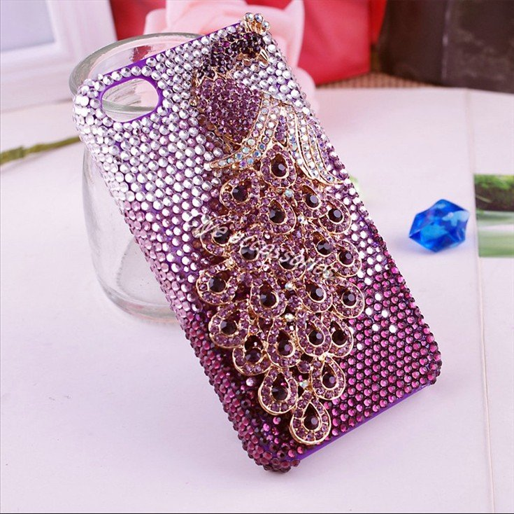 Cute Hello Kitty Wallpaper Cell Phone Gorgeous Peafowl 3d Alloy Bling Cell Phone Case For Iphone