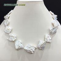 New Kind Big Size Keshi Irregular Rhombus Shape Shine White Color Pearls Natural Freshwater Cultured Pearl
