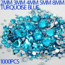 Mix Sizes Turquoise Blue Round Strass Acrylic Loose Non-Hotfix Flatback Rhinestone Nail Art loose Stones For Wedding Decorations(Hong Kong,China)