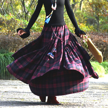 2019 homemade new ethnic style thickening skirt spring female plaid big swing skirt long skirt / women / dark red plaid skirt фото