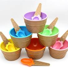 1PC Reusable Cute Kids Ice Cream Plastic Bowls Ice Cream Cup Couples Bowl Gifts Dessert Children love(China)