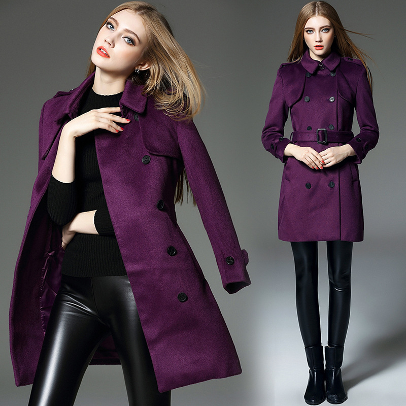 Popular Double Breasted Coat Purple-Buy Cheap Double Breasted Coat