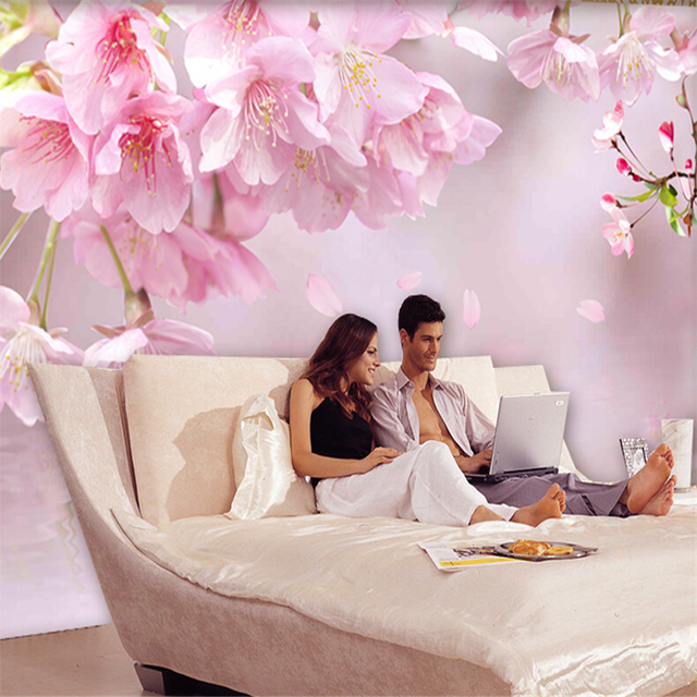 beibehang papel de parede 3D flowers marriage room TV background ...