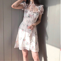 Summer Vintage Elegant Floral Dress Women Sexy Hollow Out Slim Short Sleeve Chiffon Dress for Sweet Girls Pink Blue
