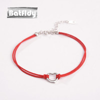 925 Silver Red Rope Love Bracelet Heart Lucky Year of Fate Gift Female Sweet All-match Single Hand Chain ZC054