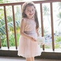 EMS DHL Free shipping little girls kids Princess Summer Dress Halter Lace Sash Bow Dress 100-140 White Pink NEW !
