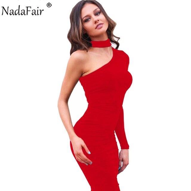 5043f30a9 Nadafair manga larga gargantilla Otoño Invierno vestido de Mujer Plus tamaño  funda Midi Sexy fiesta vestido