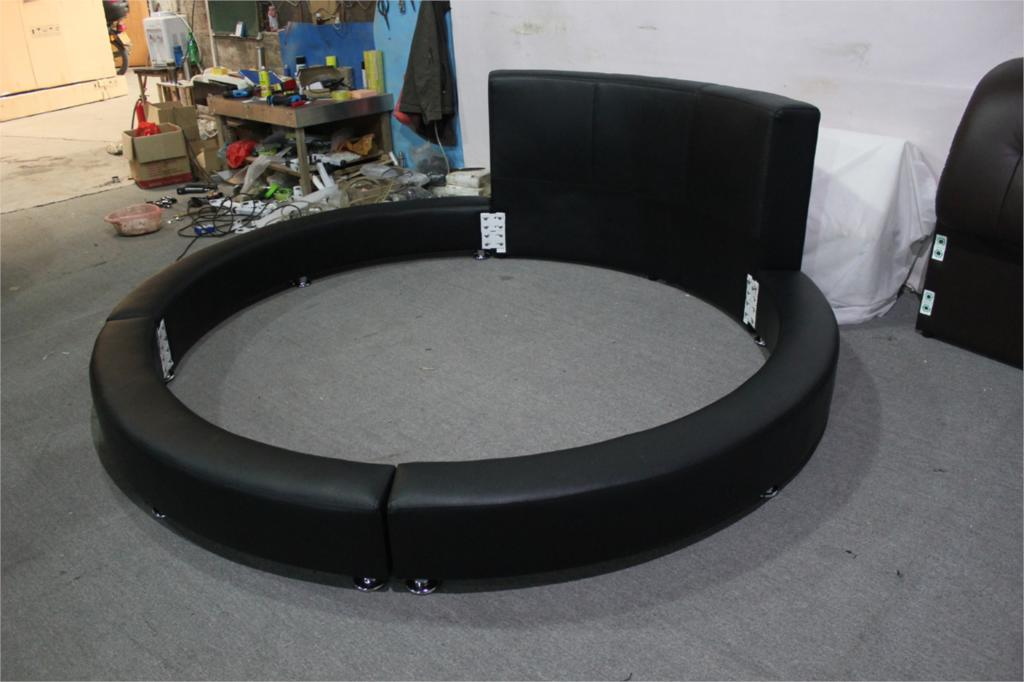 modern design high back genuine leahter top luxury exact large size round bed - Circle Beds Furniture