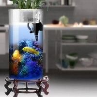 Цилиндрический аквариум для гостиной стеклянный вертикальный аквариум маленький и средний Настольный фильтр Золотой аквариум