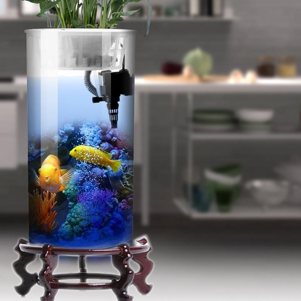 Réservoir de poisson cylindrique salon verre Aquarium Vertical petit et moyen bureau filtre réservoir de poisson rouge