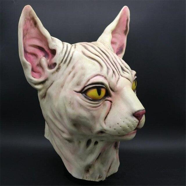 Маска для Хэллоуина Канадская голая кошка 3