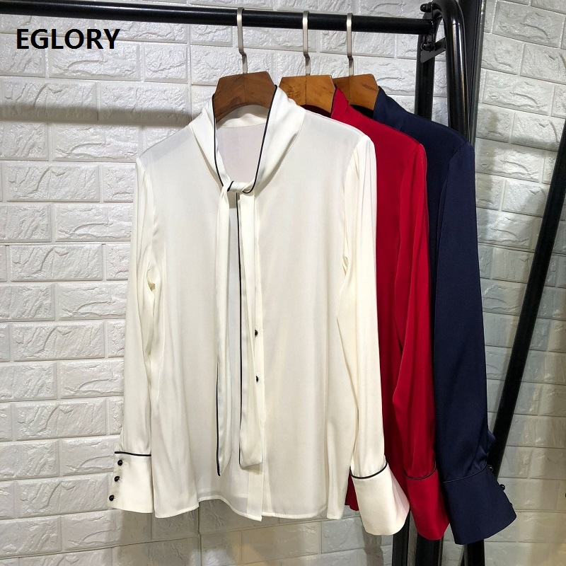 Top Quality Women's Blouse Shirt 2019 Spring Summer Bow Shirt Ladies Solid White Red Dark Blue Elegant Office Shirt Silk Blouses