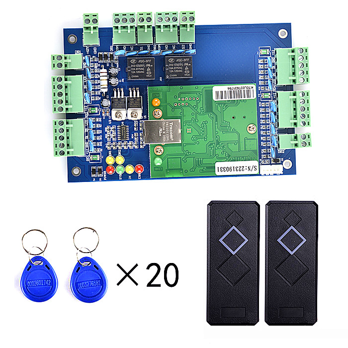 2 Pcs Card Reader +RFID Two Door Access Control Systems+TCP/IP+20pcs RFID Card+English Software biometric fingerprint access controller tcp ip fingerprint door access control reader