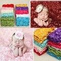 100*65 cm 3D Subiu Tecido Fotografia Adereços Cobertor Do Bebê Panos Recém-nascidos Adereços Fotografia Cenários Florais Cetim Rosa Cobertor