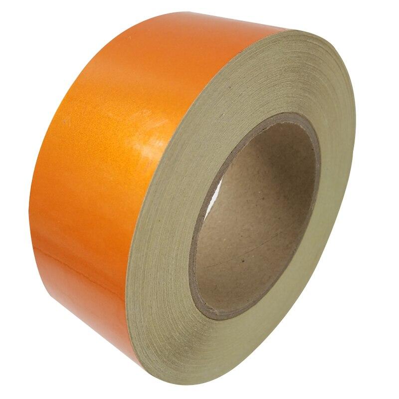 5 см * 45 м светоотражающие ленты безопасности Предупреждение знак тела наклейки оранжевый ПЭТ материалов полоски клея износостойкие водоне...