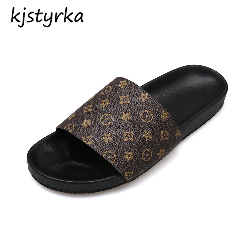 Kjstyrka 2018 Brand Designer Summer Women Slippers Flip Flops 6 Style Slides Female stripe Sandals Platform Zapatillas