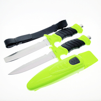PEGASI Deepsea Diving Fixed Blade Knife Survival Tactical 440 Stainless Steel Blade Rubber Handle Leggings K &ABS Sheath