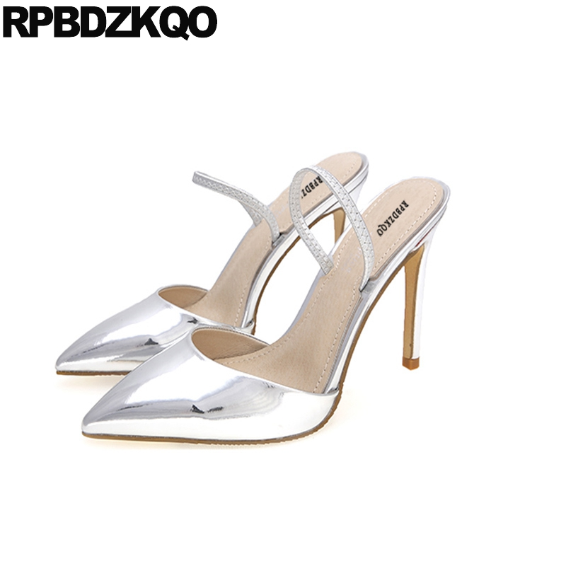 Pointed Toe 3 Inch Pumps Scarpin Sandals Gun Color Women Black Closed High Heels Metal Silver Size 4 34 European Patent Leather summer new pointed thick chunky high heels closed toe pumps with buckle ankle wraps sweet sandals women pink black gray 34 40