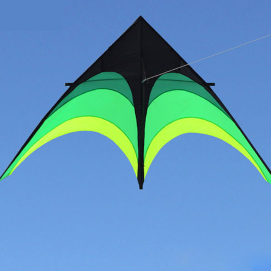 Easy Flying 9ft / 2.8M Single Line Delta Kite Green Shrub Triangle Shape Nylon Kite For Adults