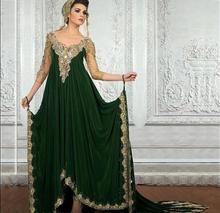 2017 Green Evening Dresses Appliques beaded Dubai Arabic Prom Dresses  Middle East Design Vestidos Abaya Jalabiya Islamic