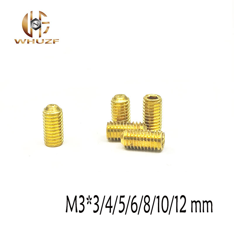 50pcs M3*<font><b>3</b></font>/4/5/6/8/10/12 <font><b>mm</b></font> <font><b>screw</b></font> <font><b>brass</b></font> set <font><b>screws</b></font> Concave hex socket Chimi screwsheadless Top wire machine <font><b>screw</b></font> image