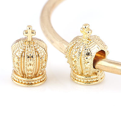 10 Pcs a Lot Gold-Color Alloy Imperial Crown Beads DIY Beads Spacer Chunky European Charm Bead Fit For Pandora Charms Bracelets