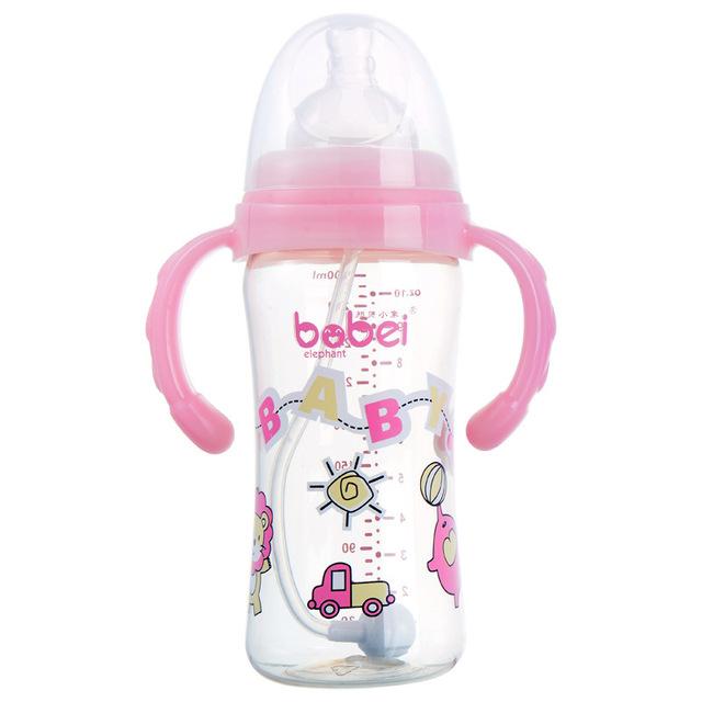 Biberon Bebê Boca Larga Mamadeira ppsu 300 ml Palha Bebek Biberon Garrafa Alça Mamadeira Infantil Dos Desenhos Animados de palha Trinkflasche