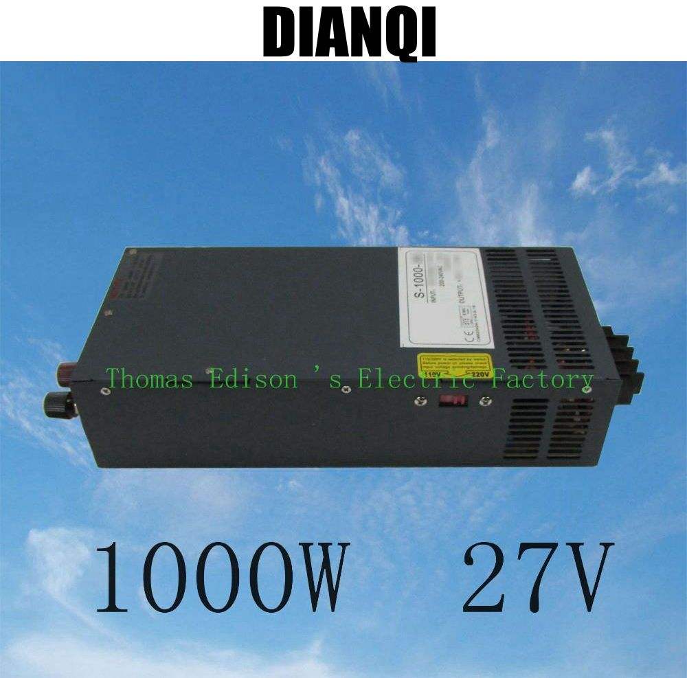 s-1000-27 1000W 27V 37A power supply adjustable Single Output Switching power supply AC to DC 110V or 220V select by switch 1000w 55v adjustable 18a single output switching power supply ac to dc 110v or 220v