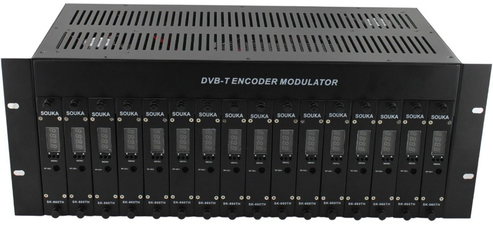 SK-860CH 16in 1 out 16 HDMI encoder into one out RF of DVB-C QAM Modulator Broadcasting Equipment