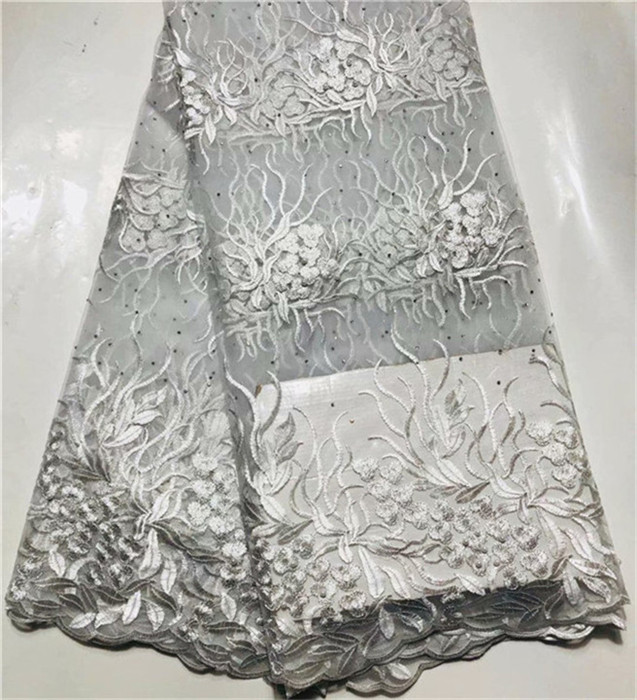 Silver White 3D Embroidery Lace.High Quality french Tulle Lace Fabric With Stone and bead 2019 African Lace Fabrics zbr1-30