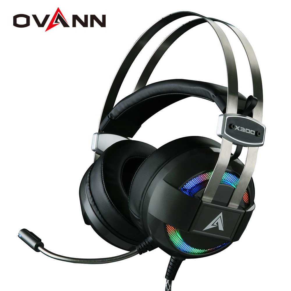 Ovann X300 Computer Gaming Headphones Over Ear Game Headset shock deep bass with Mic Breathing LED Lights Especially for Gamer game over