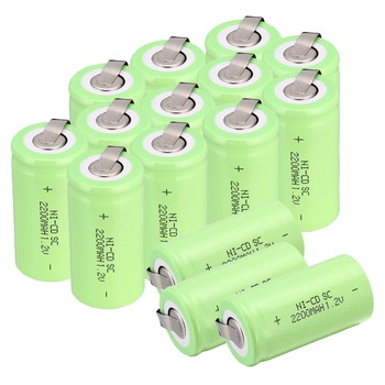 High quality !20 pcs Sub C SC battery 1.2V 2200 mAh Ni-Cd NiCd Rechargeable Battery 4.25CM*2.2CM Batteries -green color