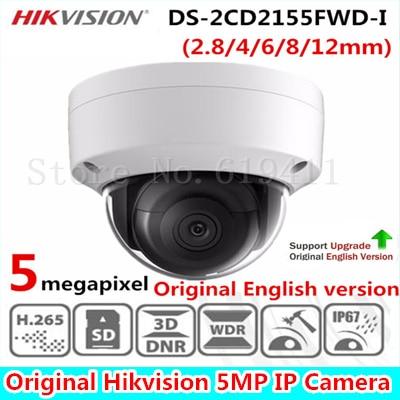 HIKVISION DS-2CD2155FWD-I English Version 5MP Turret IP Camera H.265 Support EZVIZ Upgrade PoE IR 30M Waterproof