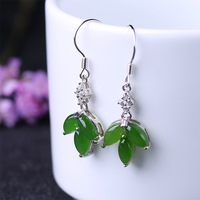 Earings Maple Leaf Vintage Natural Green White Jade Real 925 sterling Silver Cool Gift tray Supply with Box