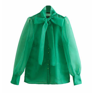 Women High Street Bow Collar Transparent Organza Green Smock Shirt Blouses Women Long Sleeve Buttons Blusas Chemise Tops