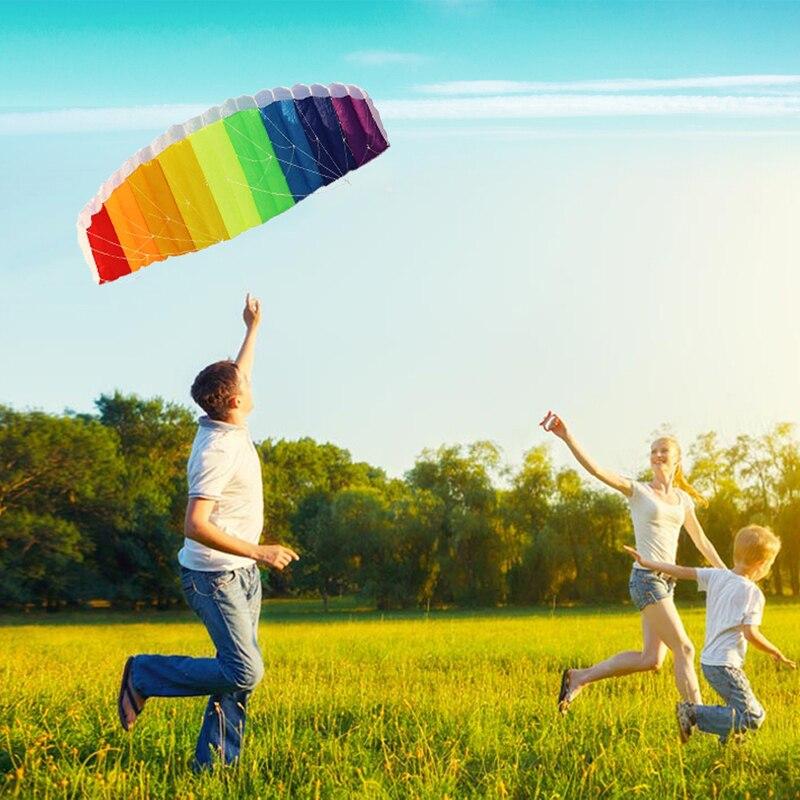 Dual Power Line cometa paracaídas Rainbow Sports Beach kite 30 m ...